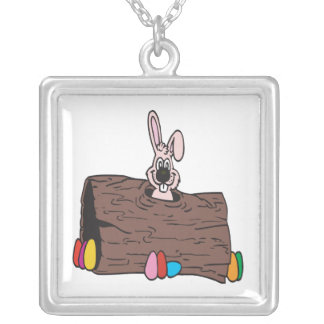 Easter Bunny Egg Hiding Square Pendant Necklace