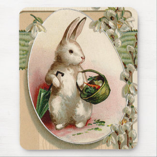 Easter Bunny Egg Umbrella Lily Basket Carrot Mouse Pad