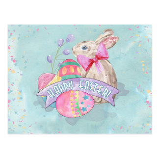 Easter Bunny, Eggs and Confetti ID377 Postcard