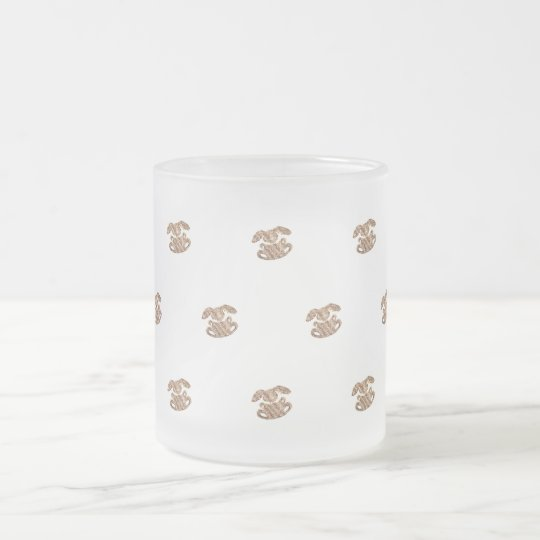 Easter Bunny Elegant Gold Look Pattern Frosted Glass Coffee Mug
