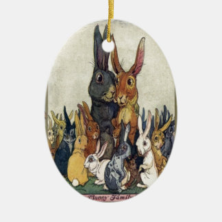 Easter Bunny Family Portrait Ceramic Oval Decoration