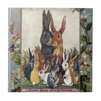 Easter Bunny Family Portrait Small Square Tile
