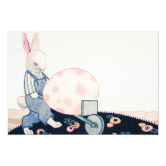 Easter Bunny Farmer Wheelbarrow Egg Photo Art