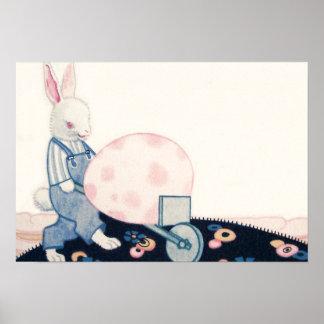 Easter Bunny Farmer Wheelbarrow Egg Poster