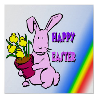 Easter Bunny Flowers Poster