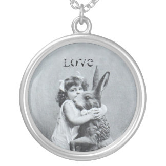 Easter Bunny Girl Antique Post Card Love Round Pendant Necklace