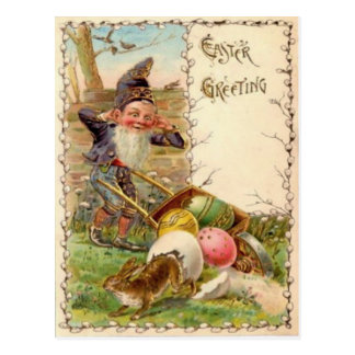 Easter Bunny Gnome Painted Colored Egg Postcard
