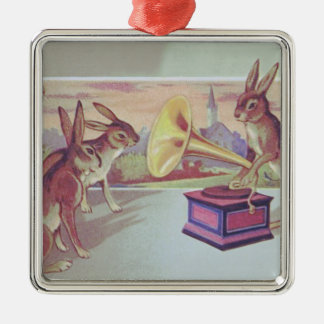 Easter Bunny Gramophone Phonograph Silver-Colored Square Decoration