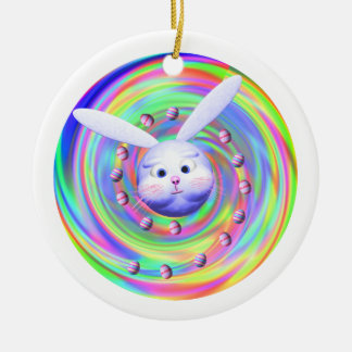 Easter Bunny Head Spin Christmas Tree Ornaments