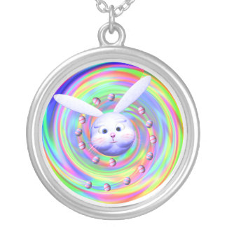 Easter Bunny Head Spin Personalized Necklace
