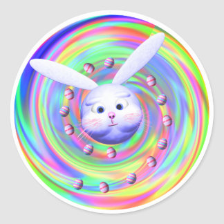 Easter Bunny Head Spin Round Sticker