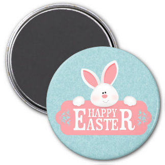 EASTER BUNNY HOLDING SIGN MAGNET