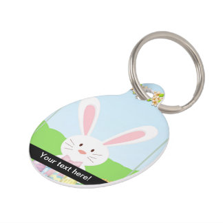 Easter bunny illustration pet ID tag
