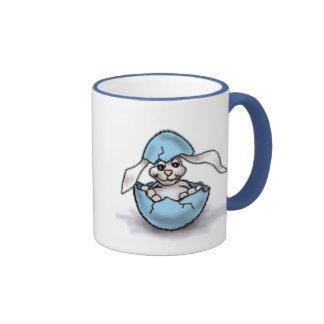 Easter Bunny in a Blue Egg Ringer Coffee Mug