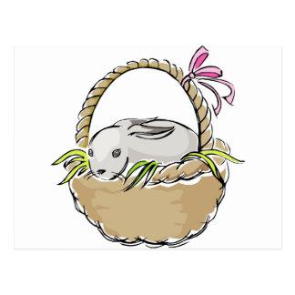 Easter Bunny in Basket Postcard