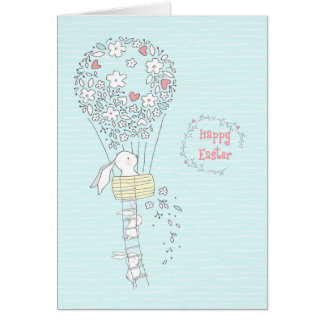 Easter Bunny in Hot Air Balloon of Flowers Blue Card