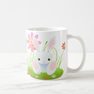 Easter bunny - Little Blue Bunny With Flowers Coffee Mug
