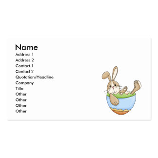 easter bunny lounging in egg business card template