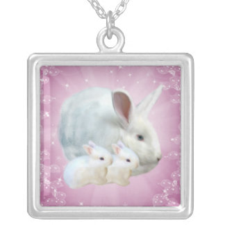 Easter Bunny Magic Necklace Square Pendant Necklace