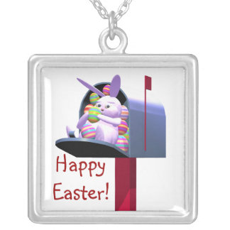 Easter Bunny Mail Silver Plated Necklace