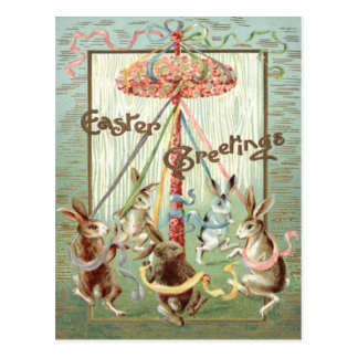 Easter Bunny Maypole Dance Ribbon Postcard