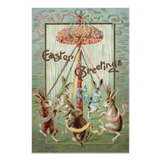 Easter Bunny Maypole Dance Ribbon Poster
