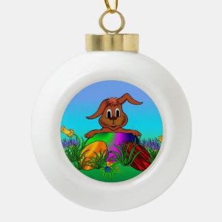 Easter Bunny , Merry Christmas! Ceramic Ball Christmas Ornament