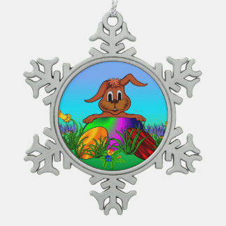 Easter Bunny , Merry Christmas! Pewter Snowflake Decoration