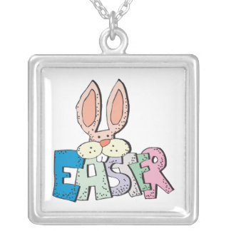 Easter Bunny Square Pendant Necklace