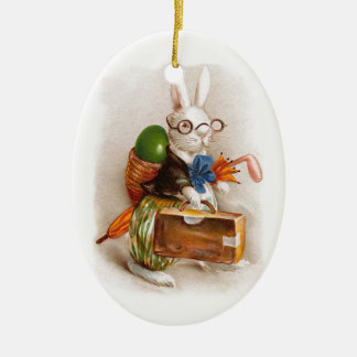 Easter Bunny on Tour Ceramic Oval Decoration