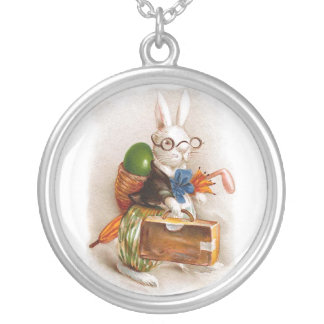 Easter Bunny on Tour Round Pendant Necklace