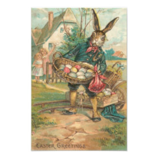 Easter Bunny Painted Colored Egg Children Cart Photographic Print