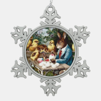 Easter Bunny Painting Egg Chick Pewter Snowflake Decoration