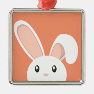Easter Bunny peeping Silver-Colored Square Decoration