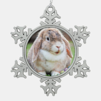 Easter Bunny Pewter Snowflake Decoration