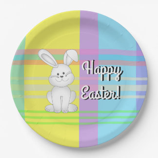 Easter Bunny Plaid Paper Plates