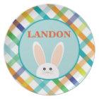 Easter Bunny Plaid - Personalised Melamine Plate