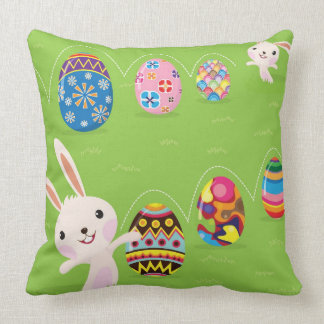 Easter bunny playful with painted eggs cushion