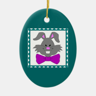 Easter Bunny Portrait Ceramic Oval Decoration