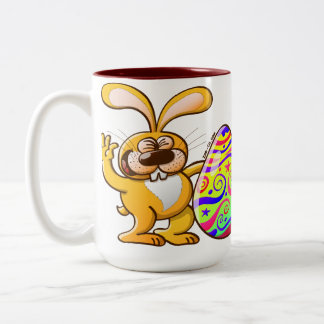 Easter Bunny Proud of his Big Decorated Egg Mugs