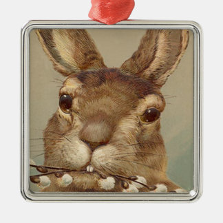 Easter Bunny Pussy Willow Floral Silver-Colored Square Decoration