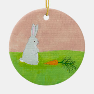 Easter bunny rabbit carrot art colourful painting round ceramic decoration