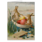 Easter Bunny Rabbit Coloured Egg Boat Card