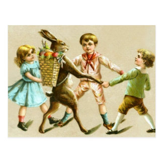 Easter Bunny Rabbit Dance Victorian Children Card