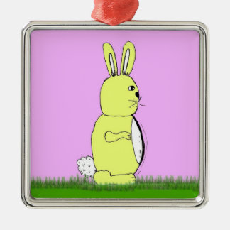 Easter bunny rabbit Silver-Colored square decoration