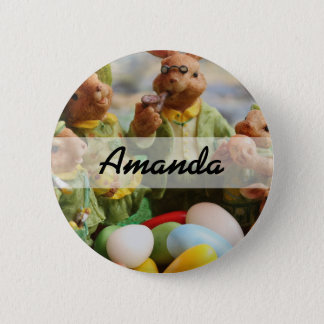 Easter Bunny Rabbit family and eggs 6 Cm Round Badge