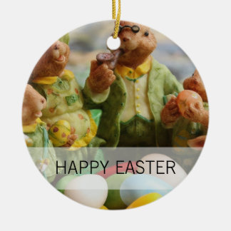 Easter Bunny Rabbit family and eggs Ceramic Ornament