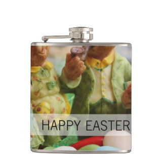Easter Bunny Rabbit family and eggs Hip Flask