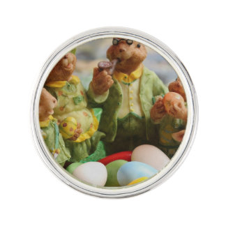 Easter Bunny Rabbit family and eggs Lapel Pin