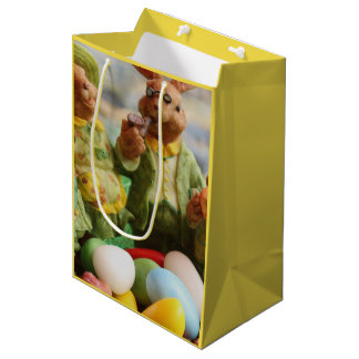 Easter Bunny Rabbit family and eggs Medium Gift Bag